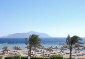 Beach of luxury hotel at Red Sea resort — Stock Photo