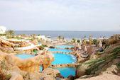 Aquapark at popular hotel near Red Sea — Stock Photo