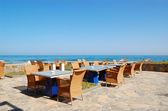 Área de relaxamento de vista mar de gr de restaurante, Creta, do hotel de luxo — Fotografia Stock