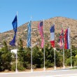 The flags at entrance of luxury hotel, Crete, Greece - 图库照片