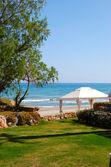 在豪华的酒店,克里特岛,希腊的海滩小屋 — 图库照片