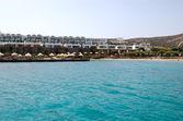 Beach of the modern luxury villas, Crete, Greece — Stock Photo