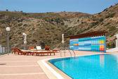 Swimming pool at the luxury villa Crete, Greece — Stock Photo
