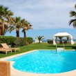 Swimming pool with jacuzzi at the beach of modern luxury villa, — ストック写真