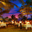 Outdoor restaurant at the beach during sunset, Phuket, Thailand — Stock Photo