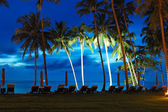 Beach at sunset with illuminated coconut palms, Koh Chang island — Stock Photo