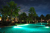Swimming pool in night illumination, Pattaya, Thailand — Stock Photo