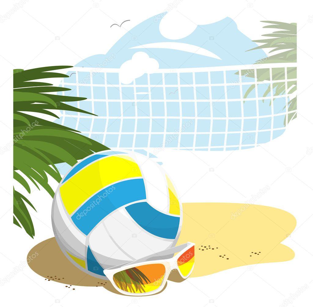 Beach Volleyball — Stock Vector © LyudmilaKa #3779213