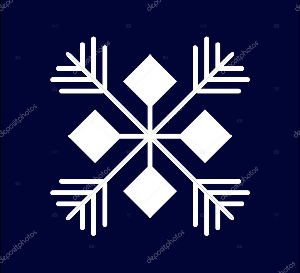 White snowflake on a dark blue background — Stock Vector #3913930