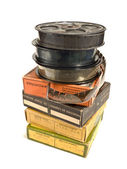 Pile of 16mm films and its boxes — Stock Photo