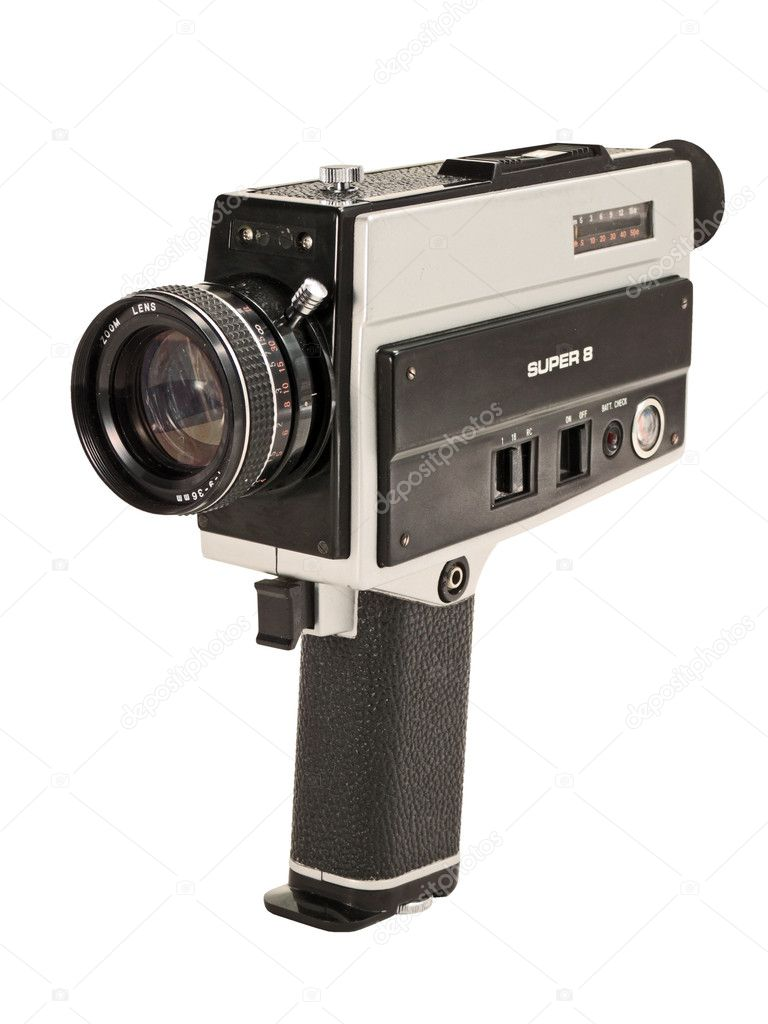 Antique Super 8mm film video camera, isolated. Clipping path is included — Stock Photo #3394568