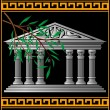 Greek temple and olive branch - Stock Vector