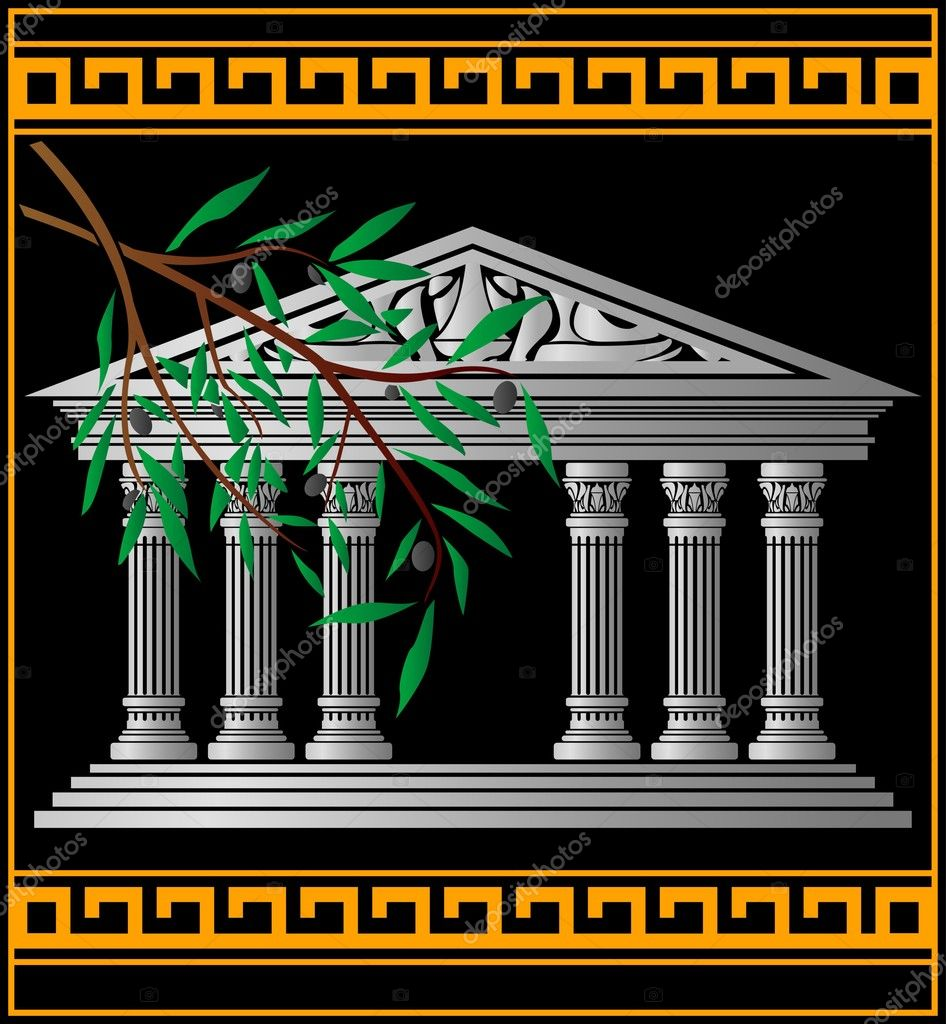 Greek temple and olive branch. vector illustration — Stock Vector #2874522