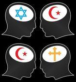 宗教的狂信者の頭脳 — ストックベクタ