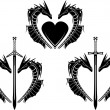 Royalty-Free Stock Vektorfiler: Set of hearts of dragons