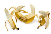 Open bananas isolated on the white background — Stock Photo