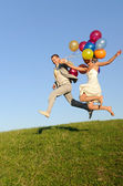 Wedding jumping — Stock Photo