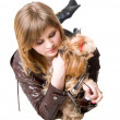 Stock Photo: Girl with a dog