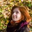 Portrait of the girl in autumn — Stock Photo
