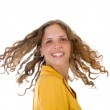 Girl with long curly hair — Stock Photo