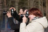 Keen photographers — Stock Photo