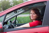 Portrait in the car — Stock Photo