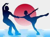 катание на коньках на фоне японский флаг — Cтоковый вектор