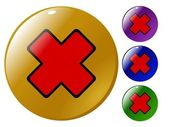 Red cross button — Stock Vector