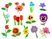 Vector collection of beautiful flowers — Stock Vector