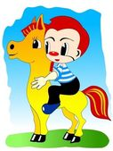 Boy on pony — Vector de stock
