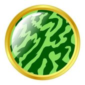 Watermelon textured button — Stock Vector