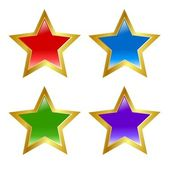 Set of colored buttons in star shape — Stock Vector