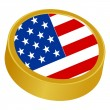 3d button in colors of USA — Stock Vector