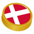 Stock Vector: 3d button in colors of Denmark