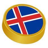 Botão 3d em cores da islândia — Vetor de Stock
