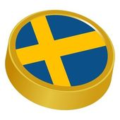 3d button in colors of Sweden — Stock Vector