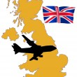 Fly me to the United Kingdom — Stock Vector
