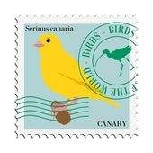 Vector stamp with canary — Stock Vector