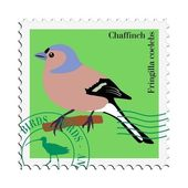 Vector stamp with chaffinch — Stock Vector