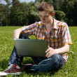 Young man using laptop in summer park — Stock Photo #3894749