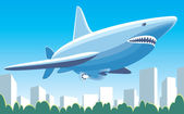 Fantastic dirigible-shark — Stock Vector