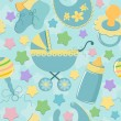 Seamless background baby's objects — Stok Vektör