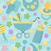 Seamless background baby's objects — Stock Vector