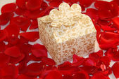Valentine gift pearl on Rose petals — Stock Photo