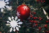 Christmas Decoration Textured Baubles — Stock Photo