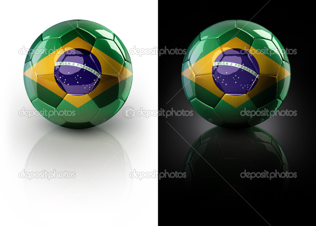 Brazil football on white and black background with clipping path — Stock Photo #2729268