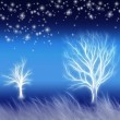 Abstract background with trees and stars — Stock Photo