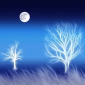 Abstract background with trees and moon — Stock Photo