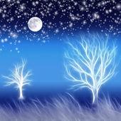 Abstrakt bakgrund med träd och stjärnor — Stockfoto