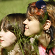 Beautiful happy young girls on the grass — Stock fotografie